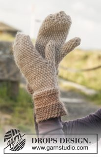 DROPS 151-32 - Шапка и варежки в технике боснийского вязания: Дублин