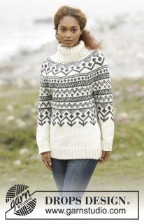 DROPS 173-5 - Теплый свитер «Black Ice»