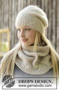 DROPS 192-4 - Комплект Белый Амариллис: шапка и манишка