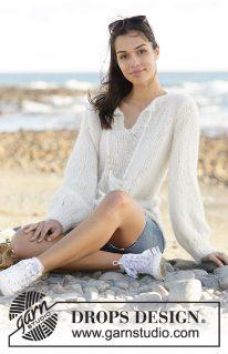DROPS 199-43 - Пуловер: Белое перо
