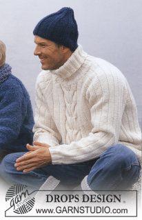 DROPS 85-23 - Пуловер мужской и шапка: На море