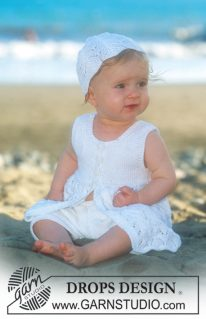 DROPS baby 10-7 - Комплект из платья и шапочки для малышки Beach Baby
