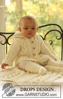 DROPS Baby 17-2 - Комплект: жакет, носочки, одеяло для малыша