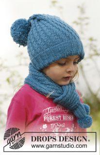 DROPS Små 23-5 - Комплект из шапки и шарфа: Sea dream