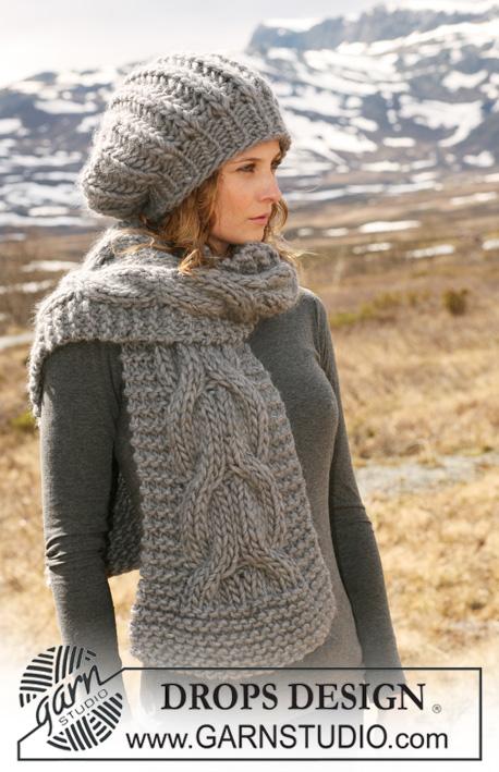 схема вязания комплект шапка и шарф из толстой пряжи Drops 116 15