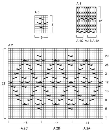 Схема вязания пончо Голубой бриз