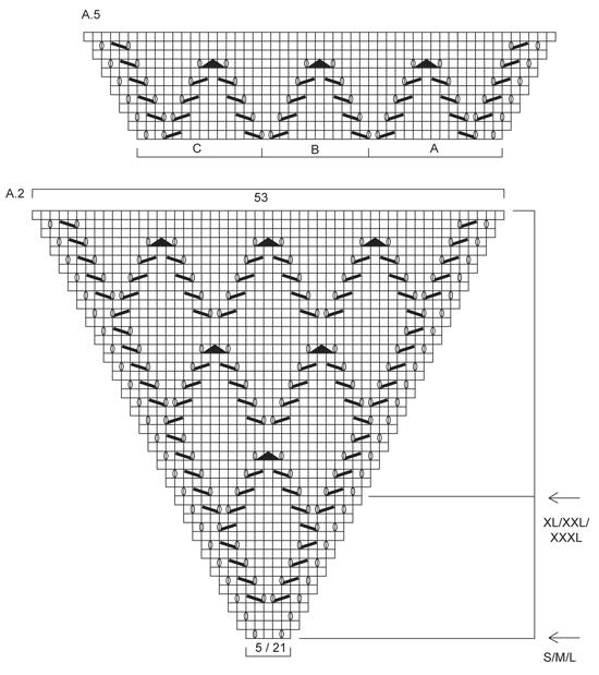 Ажурное пончо - схема вязания.